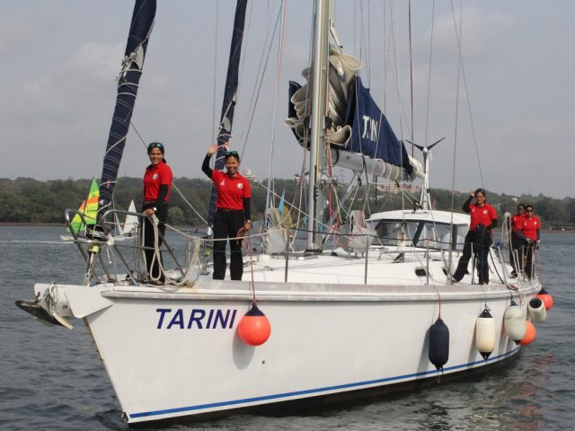 INSV Tarini returns after circumnavigating the globe